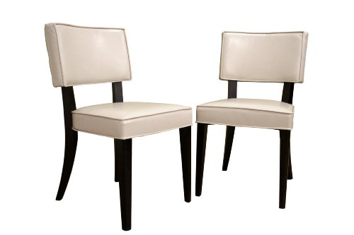 - Baxton Studio Veronica Leather-Upholstered Cream Dining Chair, Set of 2