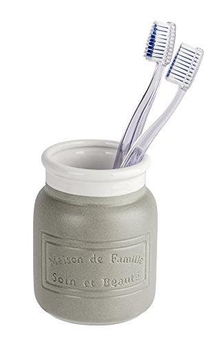 Wenko Maison Vaso para Cepillos de Dientes, Cerámica, Gris, 9x9x10.5 cm