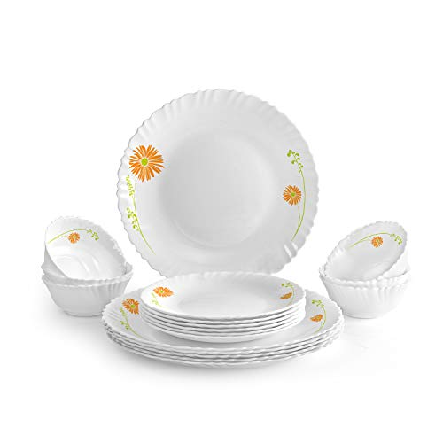 Cello Livid Lilac Opalware Dinner Set, 18-Pieces, White