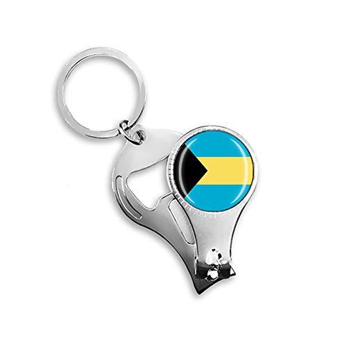 Flaschenöffner mit Bahamas-Flagge, aus Metall, Glas, Kristall, Schlüsselanhänger, Reise-Souvenir, Geschenk, Zubehör