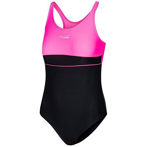 Aqua Speed Badeanzug Wettkampf Mädchen Kinder 11/12 Jahre | Schwimmanzug Kind | schwarz rosa Badebekleidung mit UV-Schutz | Swimsuits One Piece Kids | 19 Black - pink | Emily