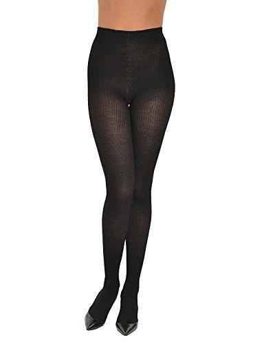 Sock Snob Semi Opaque Zwart Geribbeld Designer Panty Een maat 8-14 uk, 36-42 eur Zwart
