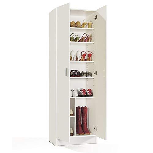 MarinelliGroup Armadio scarpiera Multiuso armadietto Mobile Bagno casa Garage 2 Ante 8 Ripiani Bianco 59 X 37 X 180