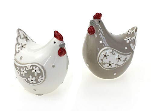 2x Deko Figur Huhn Hühnchen im Set je 9 cm, Keramik weiß braun rot landhausstil, Dekofigur Henne für Frühling Sommer