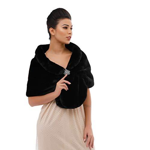 Yean - Scialle da sposa in pelliccia sintetica, da donna Nero Taglia unica