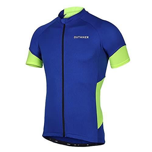OUTHIKER Maillot Ciclismo Hombre Camiseta Ropa de Ciclismo Manga Corta Ropa Ciclista para Bicicleta de Montaña con Bolsillo Transpirable Secado Rápido Verano para Deportes al Aire Libre Bicicleta