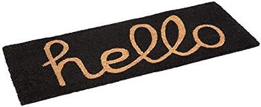 Coir Doormat Hello Black | PVC Backed Doormat | Welcome Mat | Entry Mat | (45 cm x 120 cm)