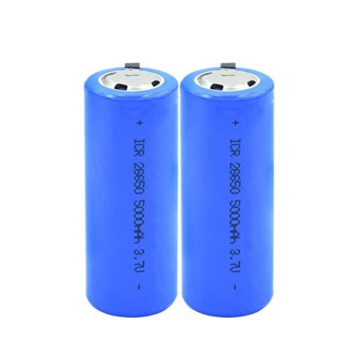 RitzyRose 26650 - Batería recargable de iones de litio de 3,7 V y 5000 mAh, protegida por PTC para celdas ICR 26650 de luz LED (2 unidades)
