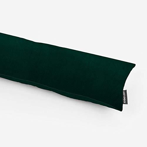 SCHÖNER LEBEN. Zugluftstopper Velvet Samt einfarbig dunkelgrün Verschiedene Größen, Auswahl:100cm Länge
