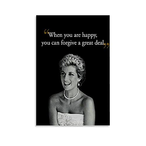 LBJMS When You are Happy, You can Forgive a Great Deal - Princess Diana Canvas Art Poster and Wall Art Picture Print Modern Family Bedroom Decor Posters 24x36inch(60x90cm)