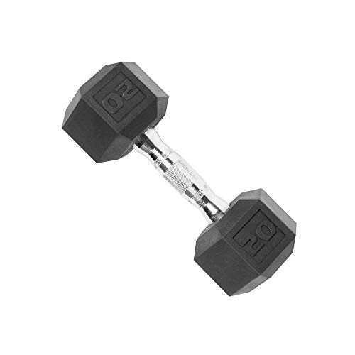 Price comparison product image WEY Barbell Set of 2 Rubber Encased Hex Dumbbell with Metal Handles Heavy Dumbbells Home Gym Fitness Arm Strength Training Equipment 20 Lb,  25lb,  30lb - Dumbbell Weights Set, 25lb