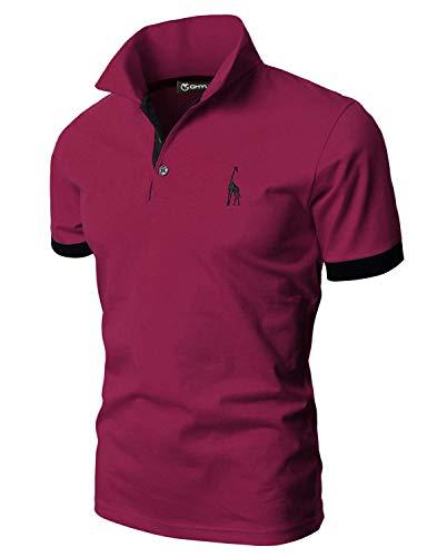 GHYUGR Polos Manga Corta Hombre Bordado de Ciervo Camisas Slim Fit Camiseta Deporte Golf Poloshirt Verano Primavera T-Shirt Oficina,Rojo Vino,M