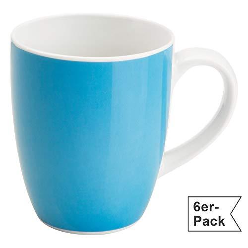 Gepolana Kaffeetassen, Kaffeebecher für 6 Personen, Serie Roma, 6er-Pack blau Größe 350 ml, 10 cm Höhe - spülmaschinenfest, mikrowellengeeignet