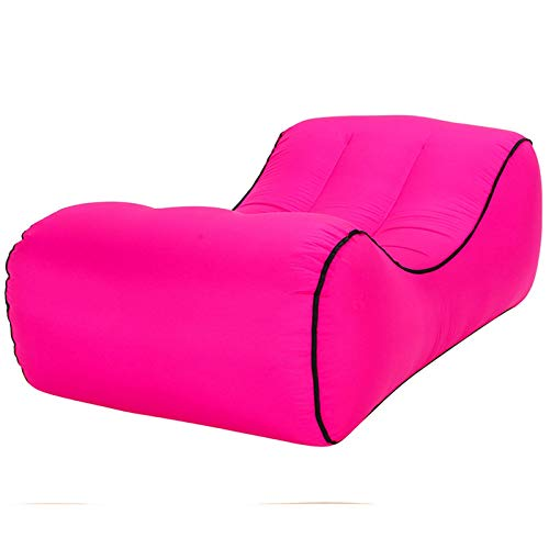 NDYD Sofá Inflable, Lazy Tumbona (1,1 kg) Impermeable y portátil, a Prueba de Fugas, Adecuado for Viajes, Camping, Piscina y Playa (195X50CM) DSB (Color : Pink)