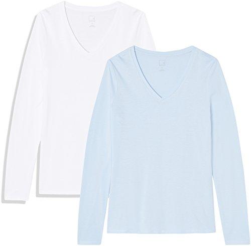Amazon-Marke: MERAKI Damen Langärmeliges T-Shirt mit V-Ausschnitt, 2er Pack, Blau (Cashmere Blue/White), 38, Label: M