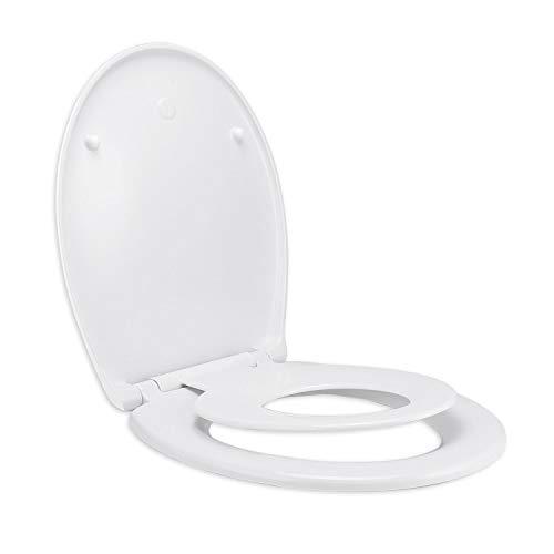 WC Sitz Family, Aidodo Familien Toilettendeckel, Klodeckel mit langsamer Absenkung und Soft-Close Quick-Release Funktion, leicht zur Reinigung und Installation, O-Form WC Deckel