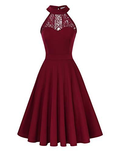 Clearlove Damen 50er Vintage Retro Kleid Party Kurzarm Rockabilly Cocktail Abendkleider