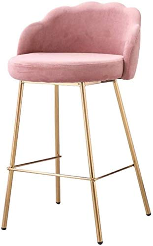 GUODT Modern Style Bar Chair with Ergonomic Backrest   Pink Velvet Seat   Plating Metal Legs   Counter Chair Kitchen Breakfast Barstool   Seat Height 66cm Bar stool