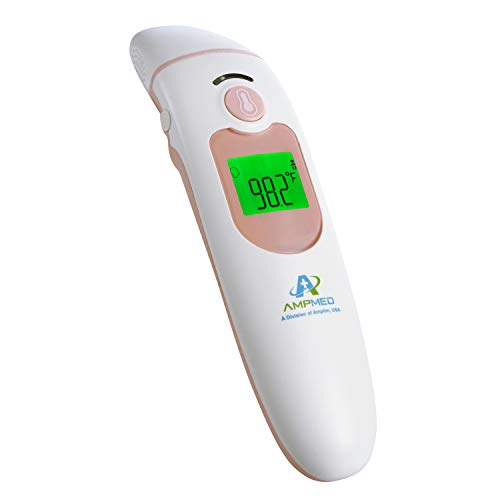 Amplim Hospital Medical Grade Contact/NonContact Clinical Digital Forehead & Ear Thermometer for Adults and Baby, FSA HSA Approved, AMP2001C5, Pink