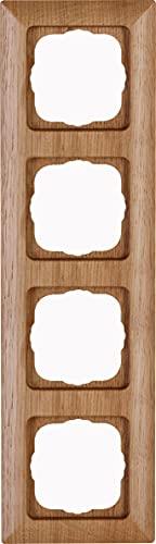 Kopp 306830000 HK02-Marco embellecedor para 4 enchufes (Madera de Roble)