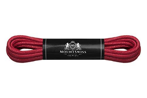 Mount Swiss Luxury Schuhbänder I Wasserabweisende und reißfeste Schnürsenkel rund ø 2-3 mm aus feiner Baumwolle/gewachst Farbe: red, Länge: 80 cm