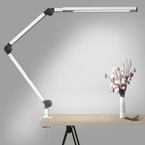 Lámpara Escritorio LED, Wellwerks 9W Lámpara de Mesa Abrazadera Brazo Oscilante Luz Regulable con 6 Modos de Color + Temporizador + Memoria para Lectura Trabajo Oficina (Plateada)