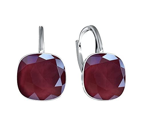 Crystals & Stones *Viele Farben* Silber 925 *SQUARE* - Ohrringe mit Kristallen von Swarovski® - Schön Ohrringe Damen Ohrhänger - Wunderbare Ohrringe mit Schmuckbox (Dark Red)