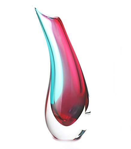 """Murano Glass Design Crystal Sardinia Vase Aqua Ruby 12"""" Ht. 4"""" Length"""