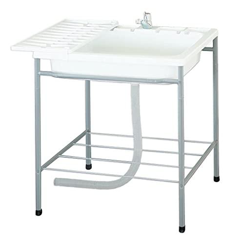サンカ 蛇口付き 簡易流し台 屋外 アウトドア用 水切り タオル掛け付き ガーデンキッチン JAG600