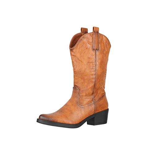 Elara Damen Cowboy Stiefel Biker Boots Chunkyrayan BH313 Camel-39