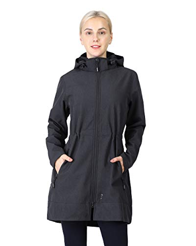 Outdoor Ventures Women's Softshell Jacket with Removable Hood Fleece Lined Windbreaker Insulated Long Warm Up Jacket Dark Grey Heather