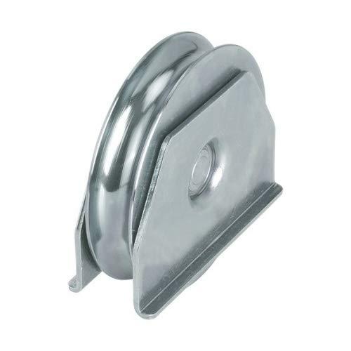 Polea con soporte diametro 80 mm, puerta correderas, rueda canal U 16 mm, en acero cincado