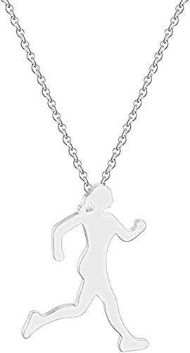 BACKZY MXJP Halskette Halskette Läufer Halskette Männer Körper Figur Sport Sportler Gehen Joggen Halskette Laufen Wen Silhouette Anhänger Halskette Geschenk