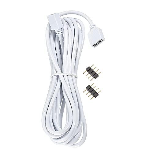 sourcing map 4 pines 10 mm RGB LED tira de luz conector extensión cable 3 metros de longitud blanco con 2 conectores macho de 4 pines