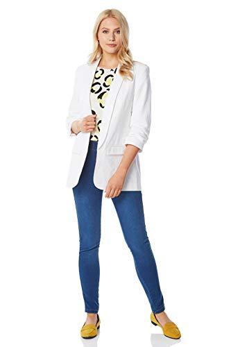 Roman Originals dames linnen jas met geplooide mouwen - dames blazer, jas, vooraan open, formel, getailleerd, bijzondere gelegenheden, zomer, avonds, vakantie, 3/4-arm