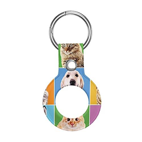 Funda de piel para Apple Airtag Tracke Keychain, Animal Lindo Varios Perros Gatos Retratos Compatible con Air Tag Holder Finder