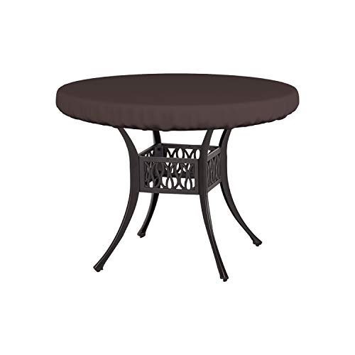 Round Table Top Cover 18 Oz - Customize Your Cover with Any Size - 100% UV & Weather Resistant Outdoor Table Cover with Air Pocket and Elastic for Snug Fit (48' Dia x 4' H, Coffee)