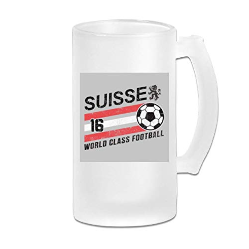Taza de jarra de cerveza de vidrio esmerilado de 16 oz impresa - Euro 2016 Fútbol Suiza Suisse Ball Grey - Taza gráfica
