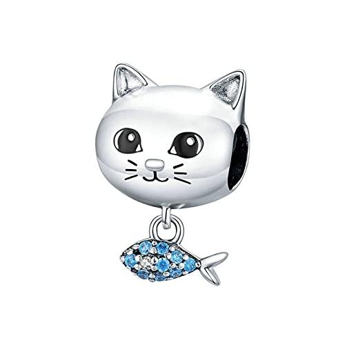 HMMJ Charm Colgante, Gracioso Gato y Pez, Cuentas de Plata de Ley 925 para Pandora Chamilia y Pulseras y Collares Europeos