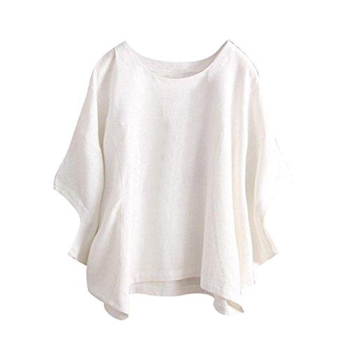 ESAILQ Damen T-Shirt Sommer Kurzarm Streifen Tops V-Neck Oberteil Mode Weich Bluse Loose Casual(XL,Weiß)