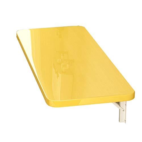 ZLLF Mesa De Comedor Colgante De Pared Plegable Amarilla, Mesa De Laptop Flotante Plegable, Espacio De Ahorro, Rodamiento 30kg-60kg, Varios Tamaños (Size : 60 * 40cm)