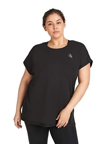Zizzi Damen Große Größen Sport Shirt Kurzarm Rundhals Fitness Top, 50-52, Schwarz