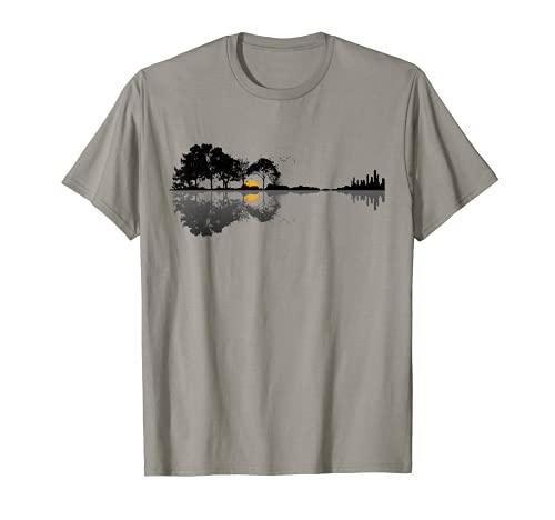 Gitarre Natur See Schatten Design Gitarrist Geschenk Design T-Shirt