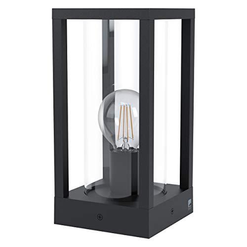 EGLO Außen Sockellampe Cascinetta, 1 flammige Außenleuchte Vintage, Retro, Sockelleuchte aus Aluminium-Guss in Schwarz und Glas in Klar, Außenlampe mit E27 Fassung, IP44