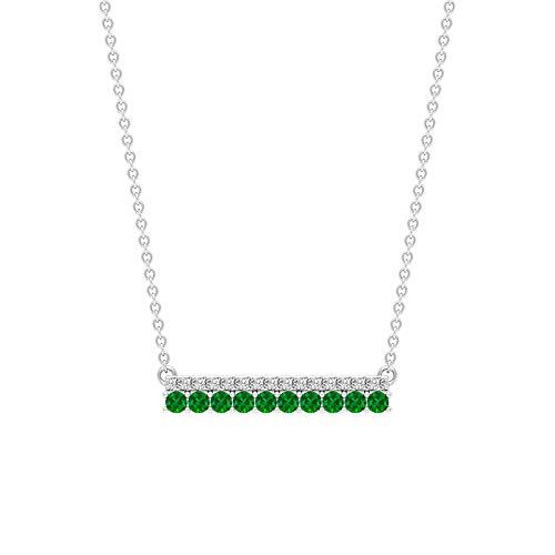 0,52 ct grüner Smaragd zertifizierter Diamant Bar stapelbar Anhänger, antike Frauen Gold Kette Charm Stapelanhänger, Vintage Mai Geburtsstein Halskette Geschenke, 14K Gelbes Gold