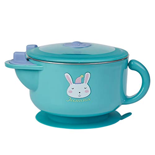 Toddmomy Baby Bowl with Suction and Lid Heated Baby Bowl Easter Bunny Baby Feeding Bowl Food Warmer Stainless Steel Tableware for Toddlers Infants Green