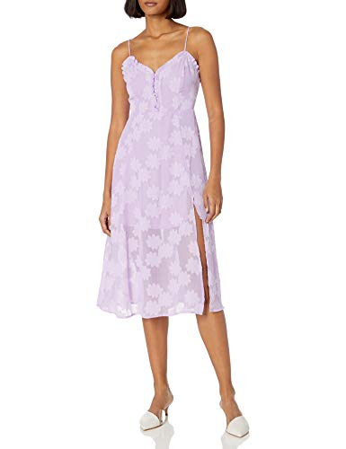 ASTR the label Women's Elaina Sleeveless Fit & Flare Sweetheart Illusion Midi Dress, Lavender Shadow, L
