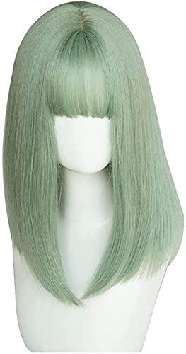 HTDYLHH Pelucas naturales hermosas, sintéticas con flequillo verde resistente al calor de la red de rosas pelucas para Lolita fiesta diaria Halloween para cosplay fiesta uso diario
