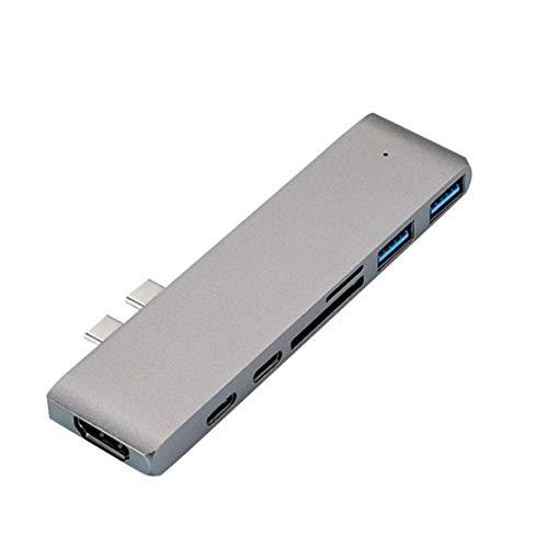 USB 3.1 Tipo-C Hub a Adaptador HDMI 4K Thunderbolt 3 USB C Hub con Hub 3.0 TF Lector Ranura PD para MacBook Pro/Air; Plateado Candybush