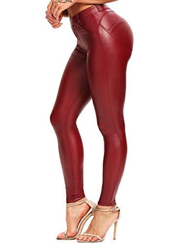 CROSS1946 Damen Kunstleder Leggings Sexy PU High Waist Skinny Leggings Damen Hose Fake Leder Look LederLeggings Blickdicht Lederhose